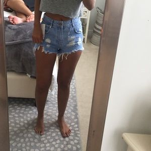 Zara High Waisted Jean Shorts